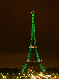 Eiffel tower. St Patrick's Day